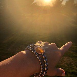 Silver beaded bracelet set with Rhinestone focal